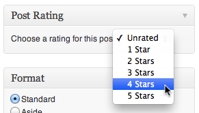 The post rating meta box which can be enabled for posts, pages, or custom post types