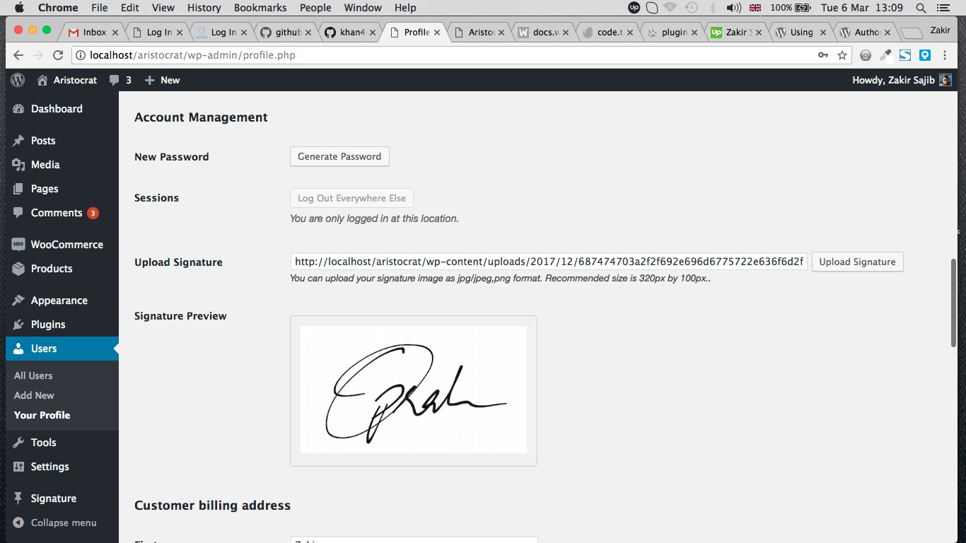 Signature in user profile