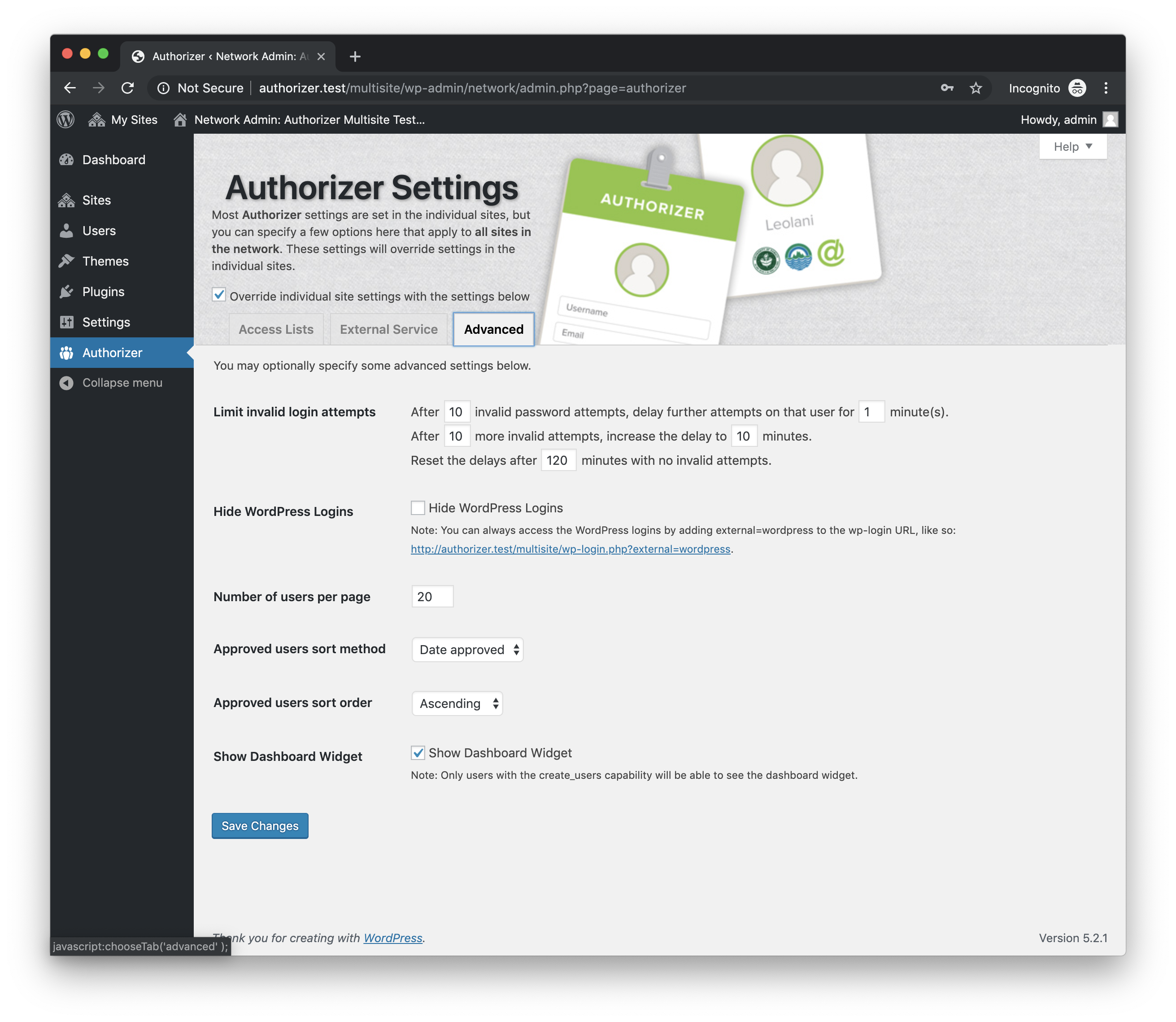 Authorizer Network Admin Options: Advanced.