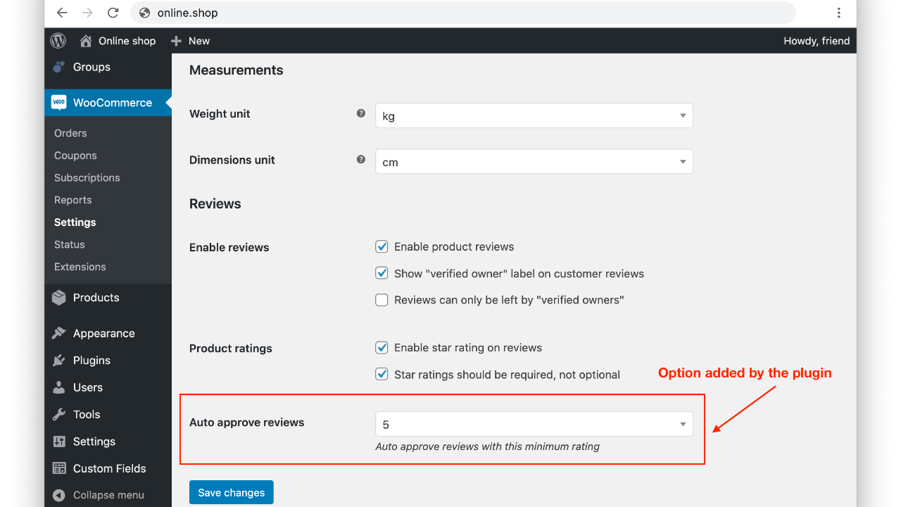 Settings to change the minimum rating