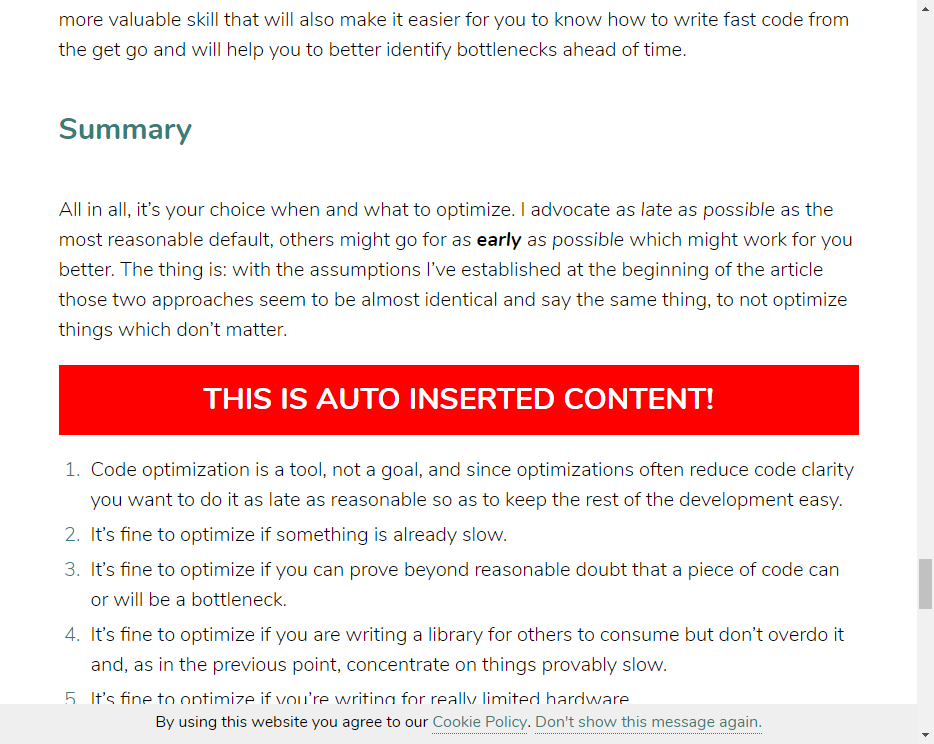Inserted content is visible in a blog post