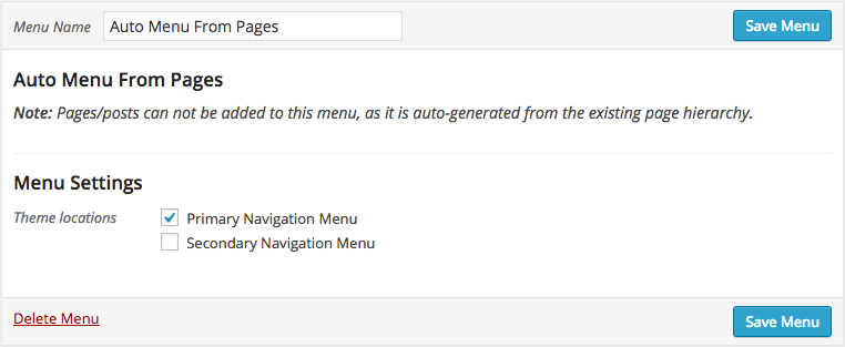The Auto Menu From Pages menu in action. Looks the same as any other menu, just simplified!