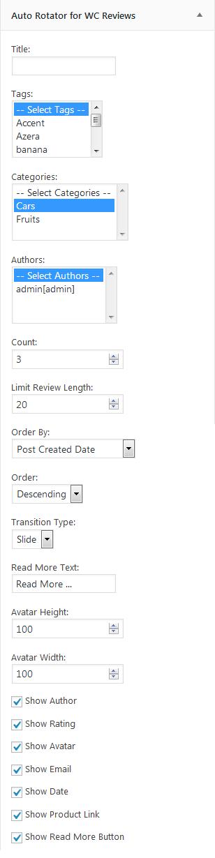 تنظیمات ابزار نمایش خودکار نظرات ووکامرس