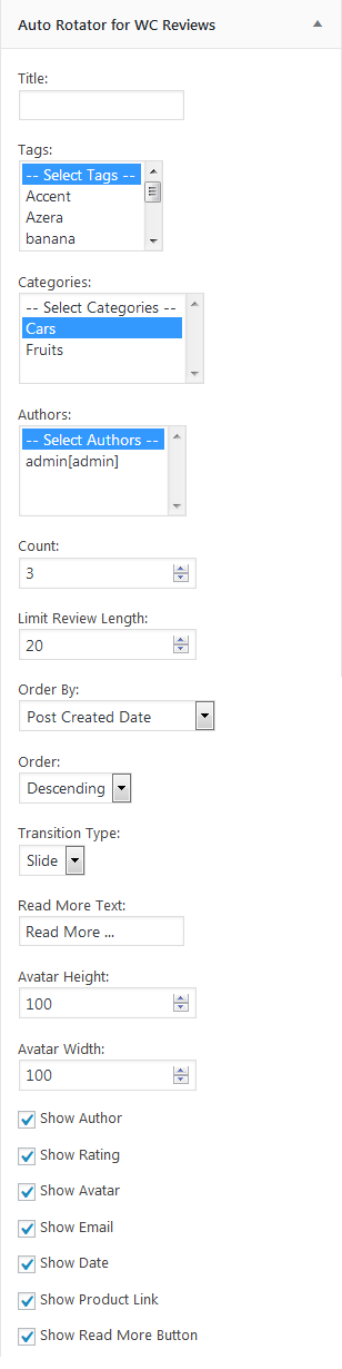Settings of the widget in admin panel.