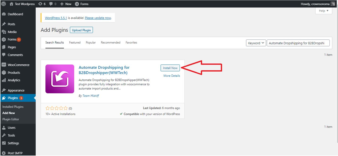 Install the plugin through the WordPress plugins screen directly.