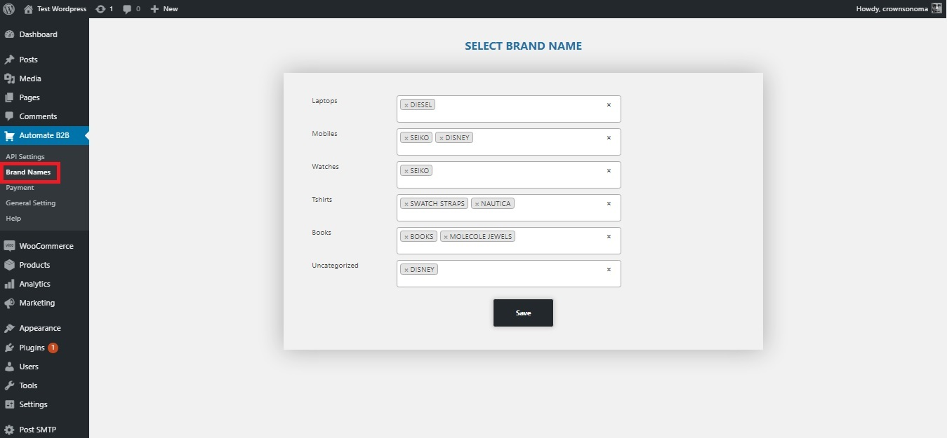 Brand Names and assign your brand name to category.
