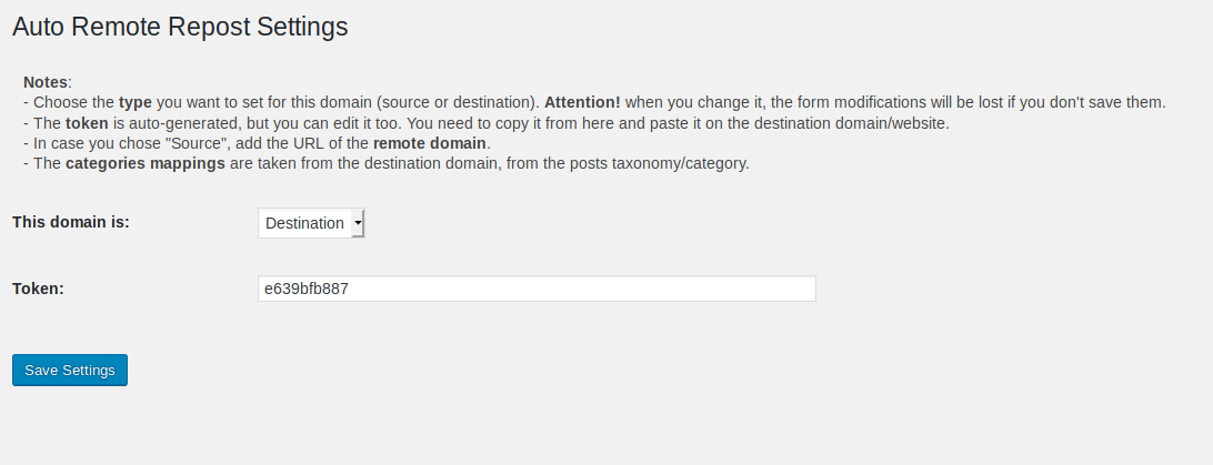 "The settings for the ""Destination"" type"