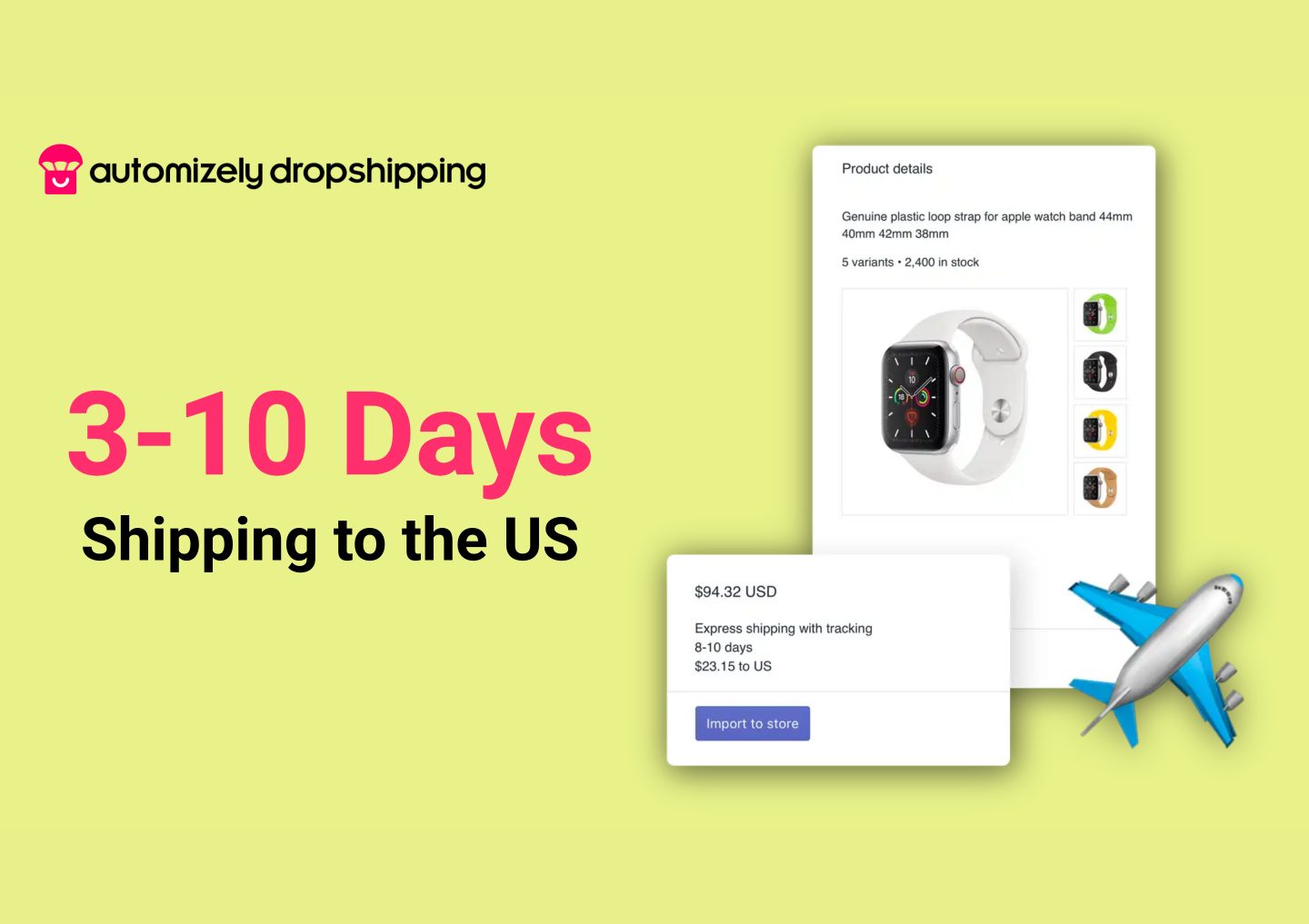 Provide expedited 3-10 days free shipping to the US and other countries with carriers like USPS, UPS, YunExpress and more.