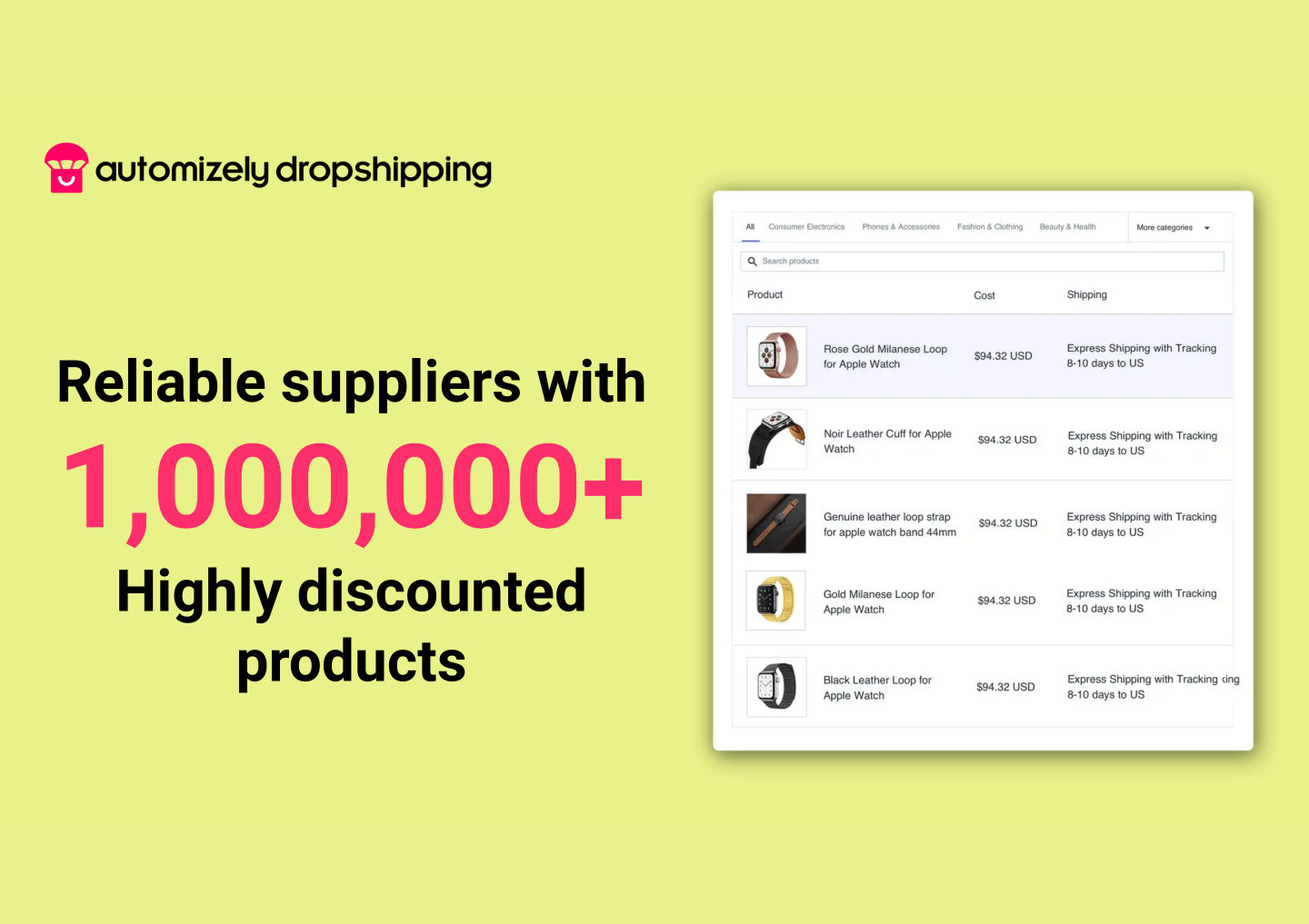 Easily find and import top-quality dropshipping products from trusted suppliers worldwide.