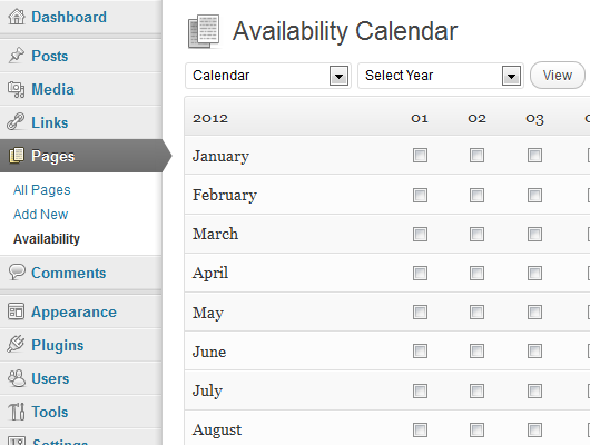 The availability calendar management page.