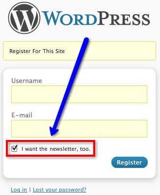 Aweber Super Simple adds a single checkbox to the WordPress registration page.