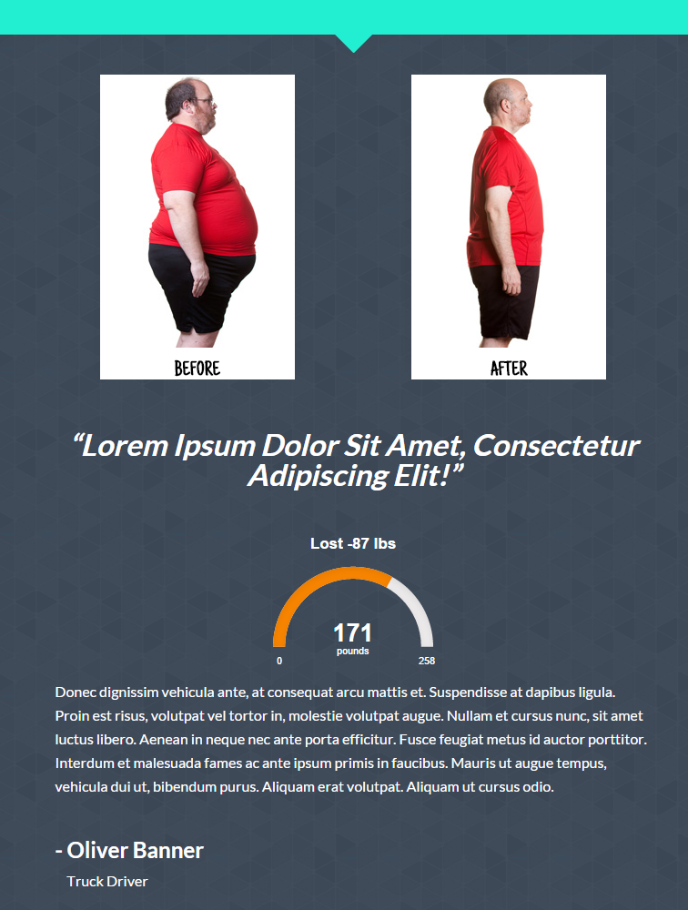 pSimple Showcase Example 1: body transformation testimonial embeded within a full-width page./p