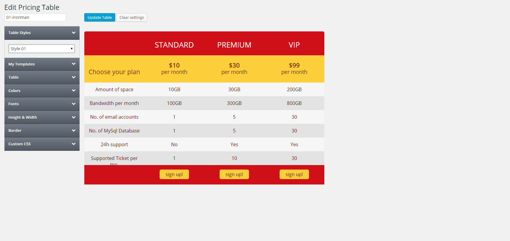 Pricing Tables for WP Admin Screen in Action