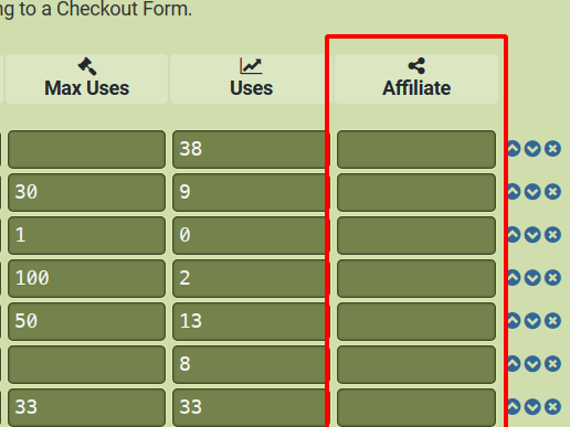 Affiliate Column in s2Member Pro Coupon Codes section