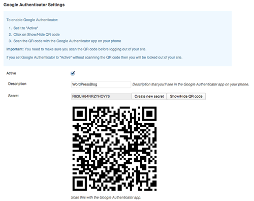 User profile with Google Authenticator