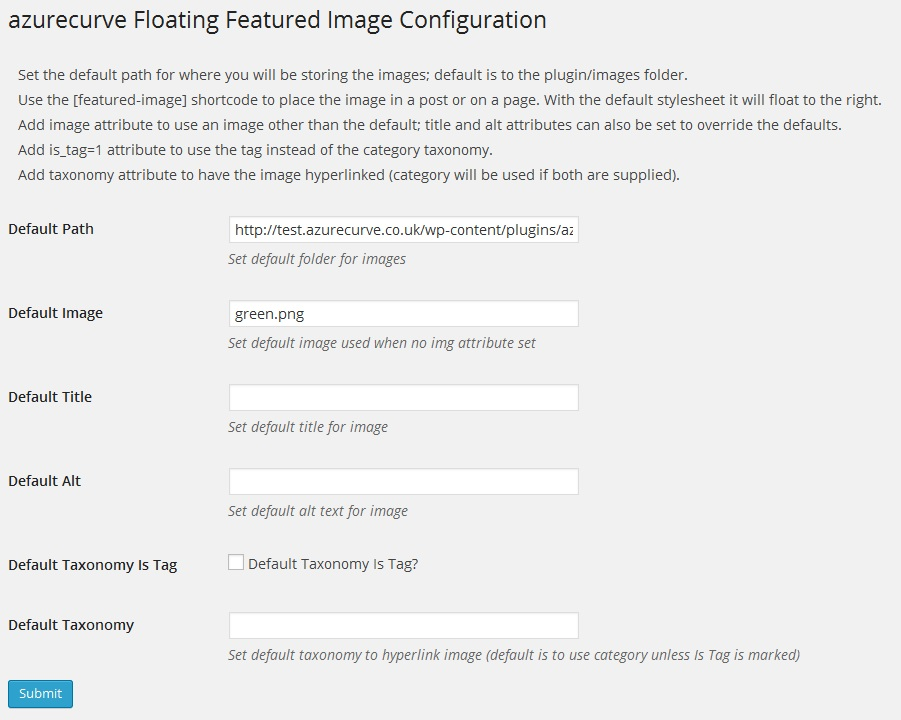 Floating Featured Image on a post.