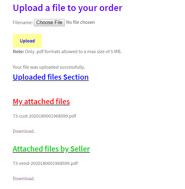 This shows files attached by both the buyer and the seller
