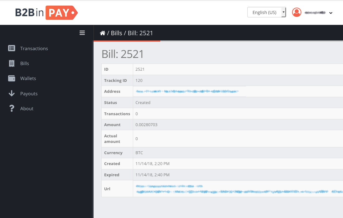 A new bill in B2BinPay admin page.