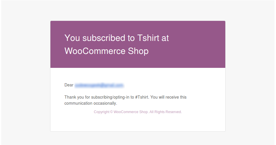 Success Subscription Email