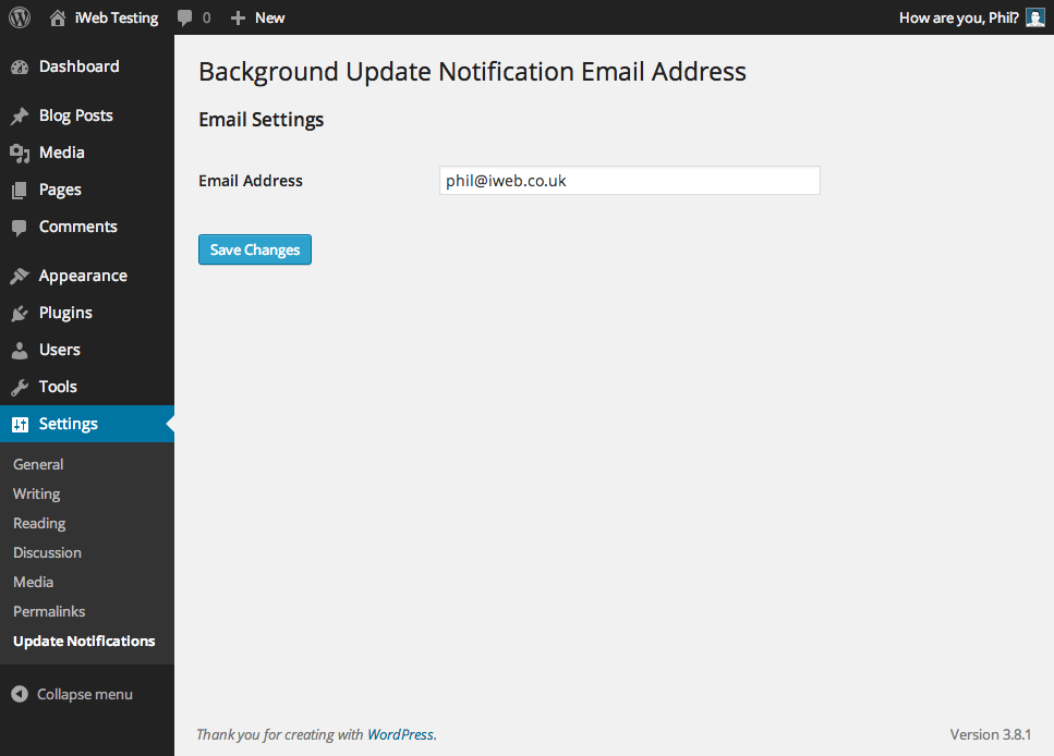 background-update-notification-email-address screenshot 1