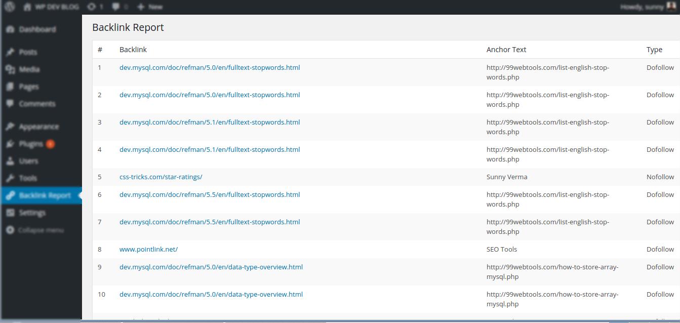 Backlink Report Page screenshot