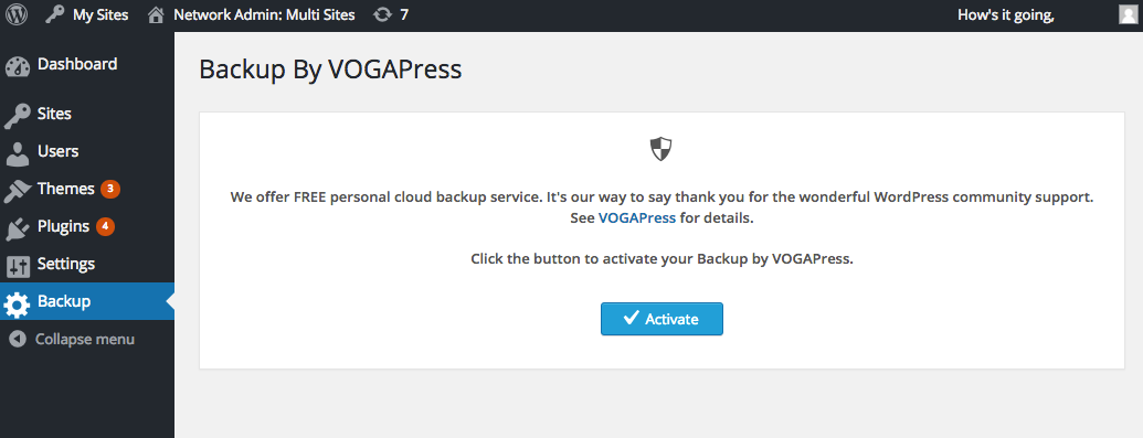 Connect WordPress to VOGAPress with the Activate button.