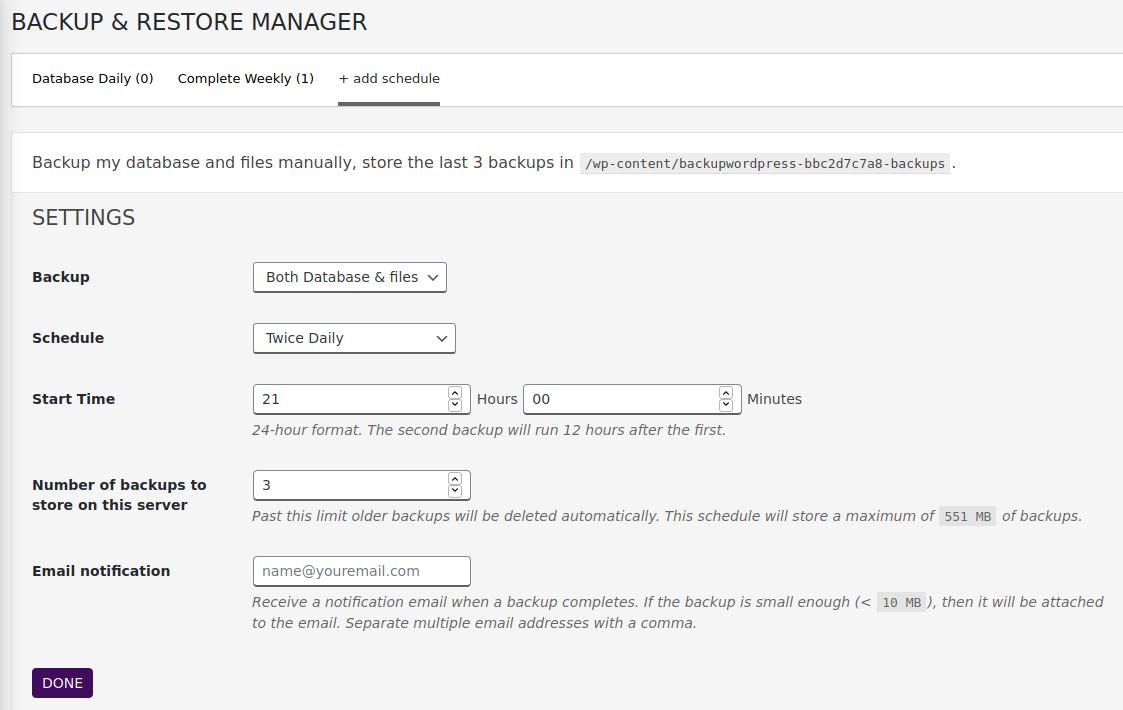 Backup & Restore Manager