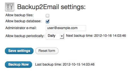 Setup your backup2email plugin