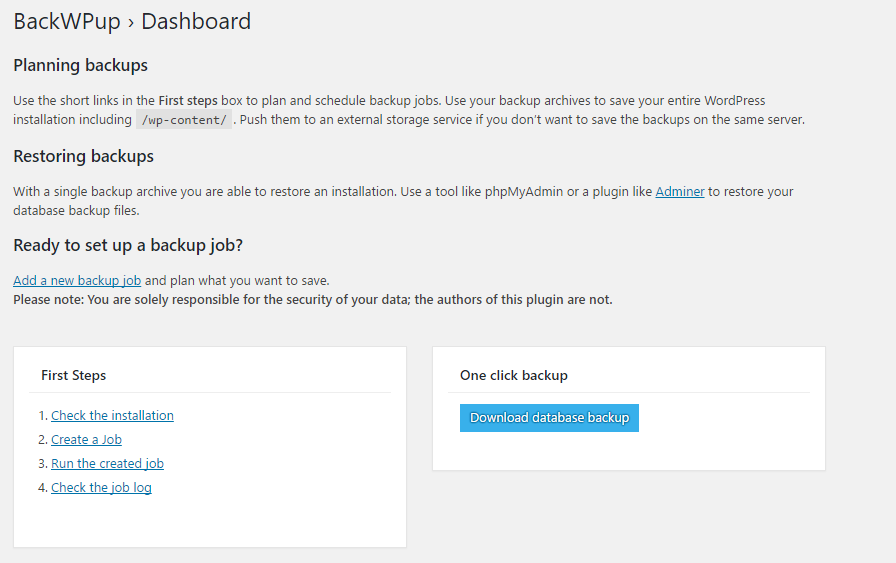 BackWPup – WordPress Backup Plugin Screenshot