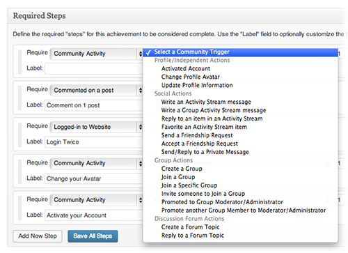 <p>A wide range of BuddyPress and bbPress actions can be selected as required steps towards the completion of any BadgeOS achievement type.</p>