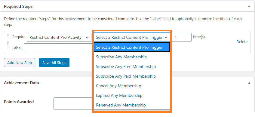 <p>BadgeOS Restrict Content Pro Integration add-on's all triggers.</p>