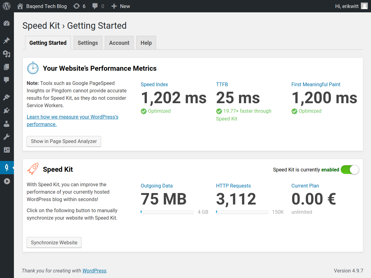 The Speed Kit landingpage. You can see your used traffic and quickly revalidate your website.