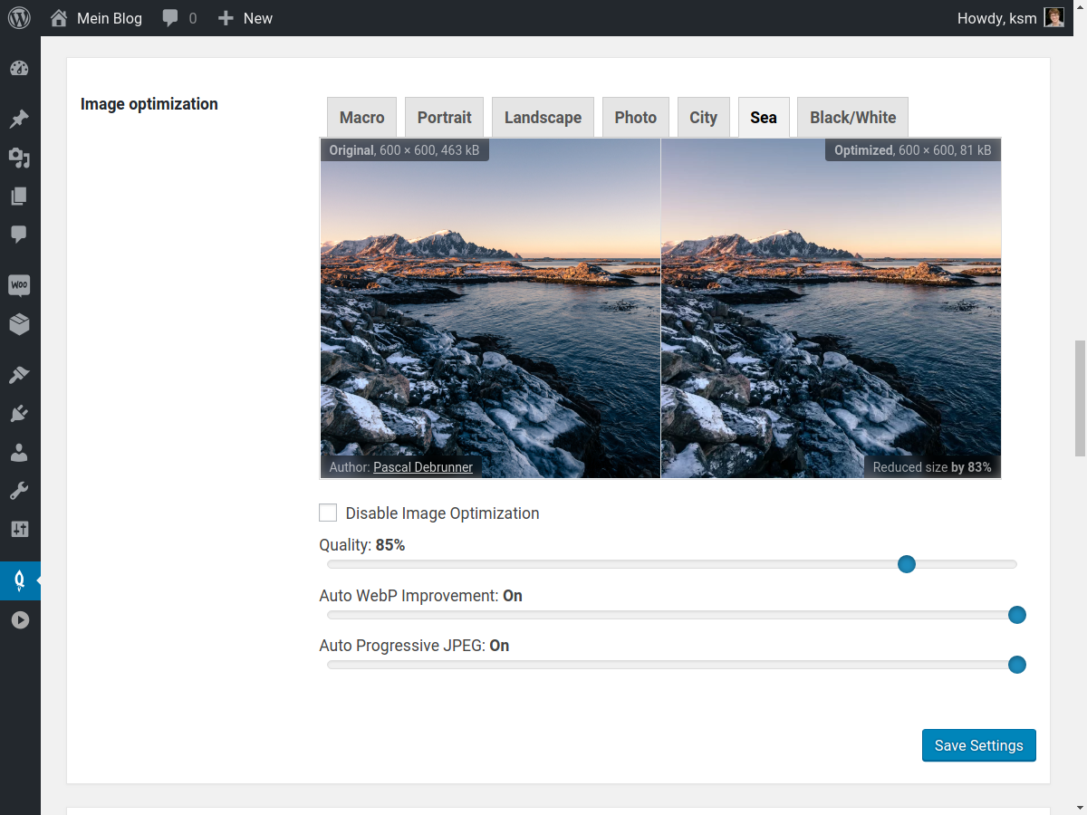 In the Speed Kit settings tab, you can also find settings for automatic Image Optimization.