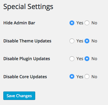 Special Settings page.