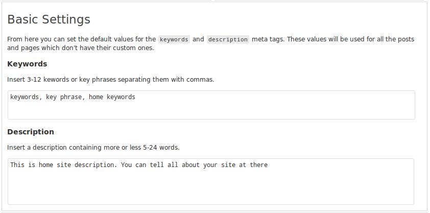 Basic SEO options page where you can set global keywords and description