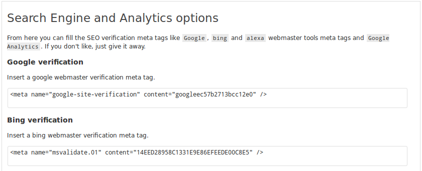 Basic SEO options page where you can set Search engine verification (google, bing)