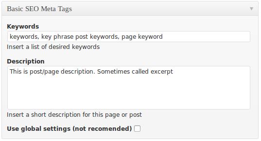 Basic SEO metabox displayed on a single page/post edit form