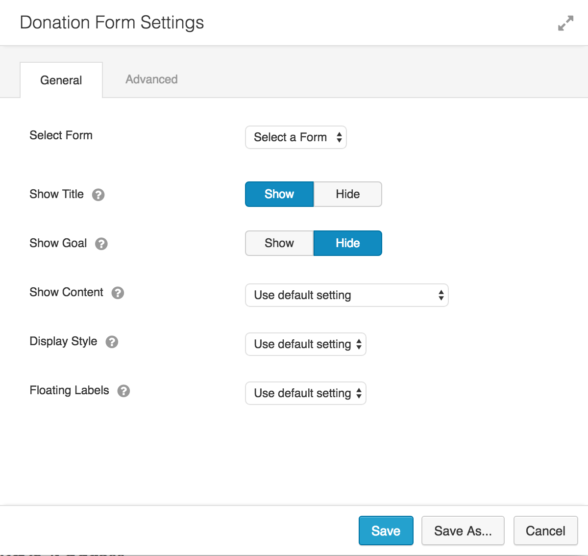 Donation Form settings