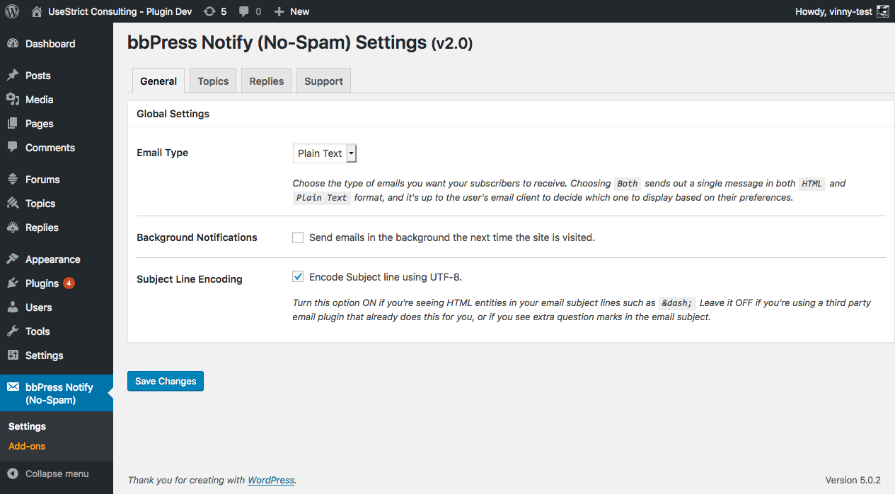 The settings page - General tab