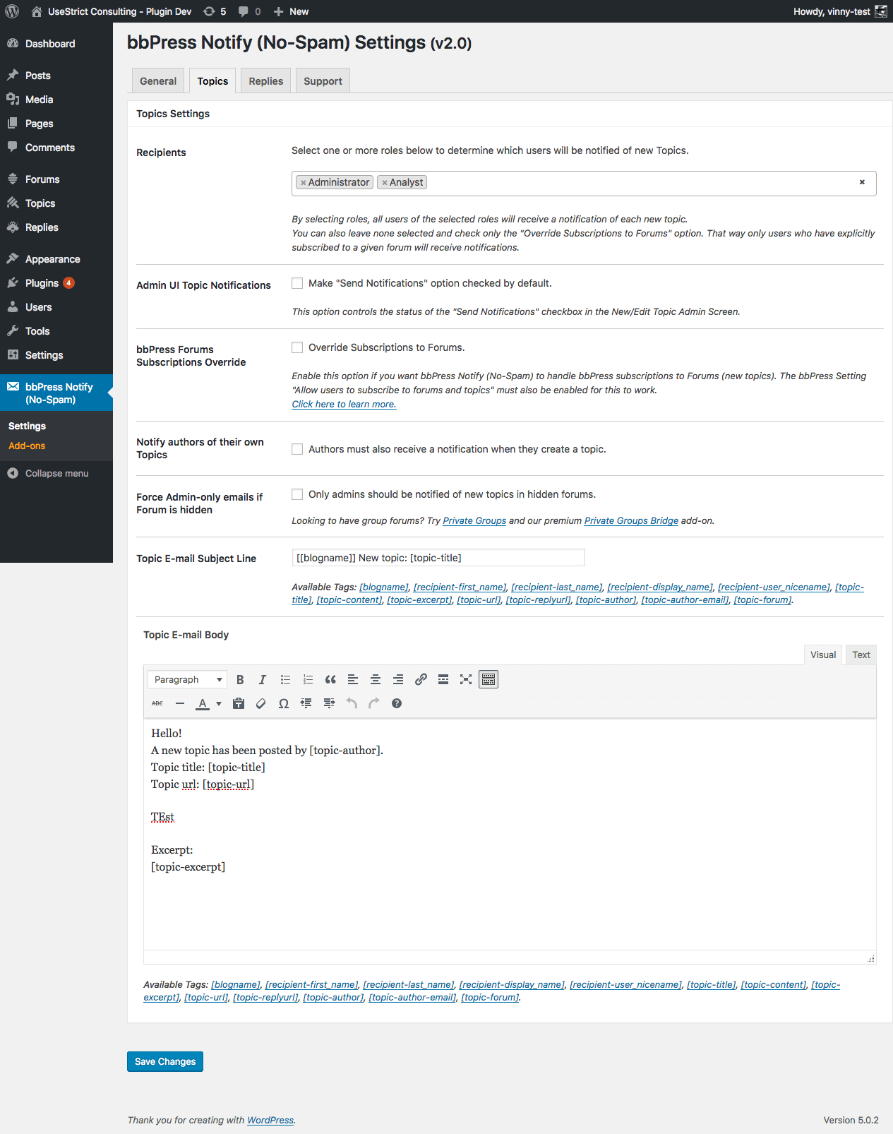 Ability to send notification when managing topics/replies in the admin UI