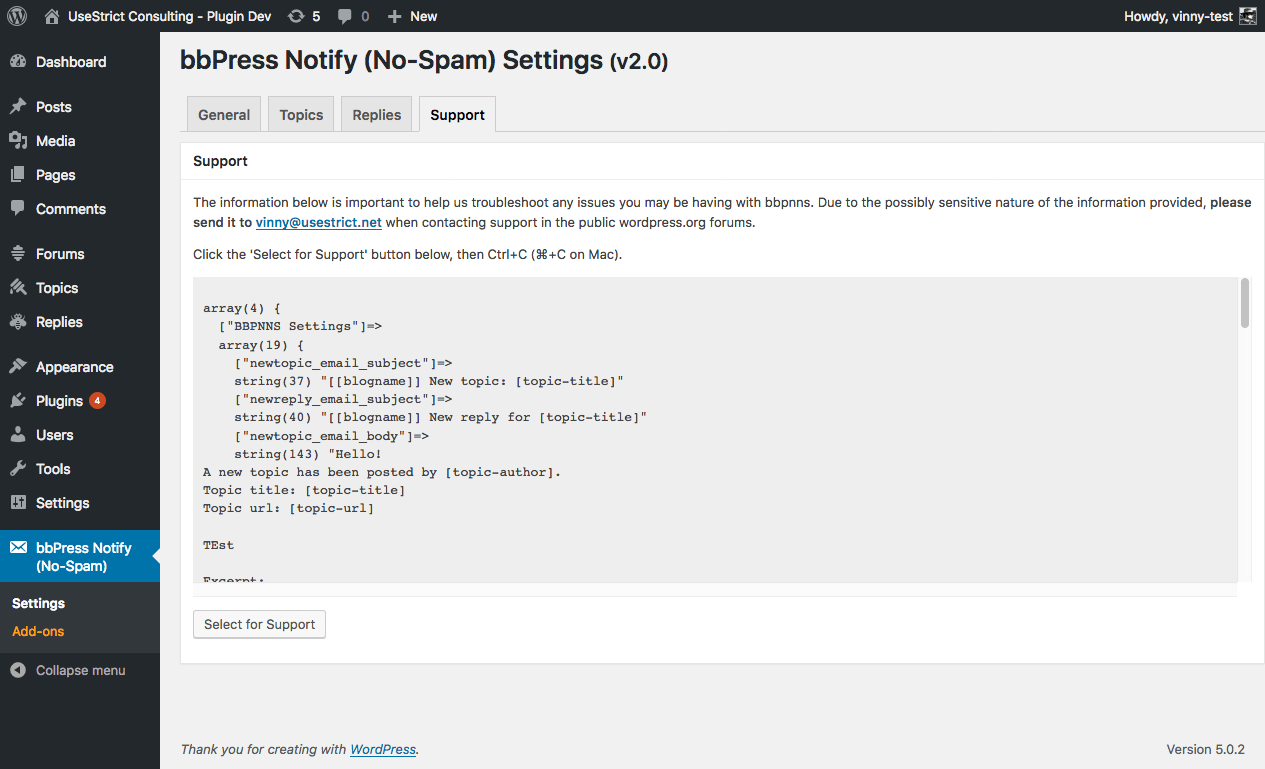 The settings page - Support tab