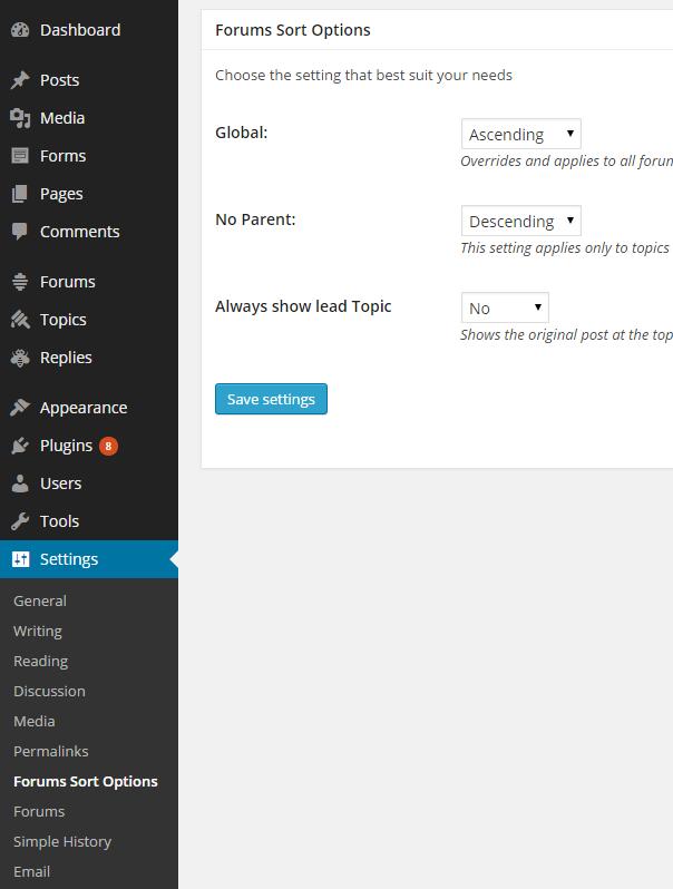 Settings page in settings menu
