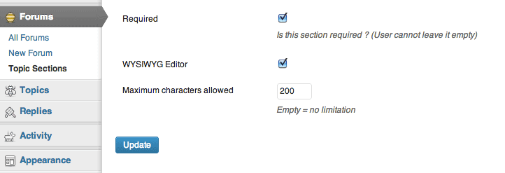 Special settings when editing a topic section