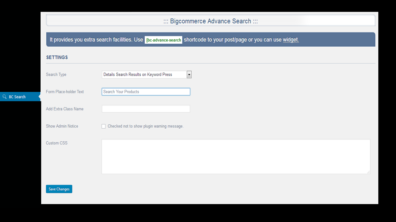 BigCommerce Advance Search Settings page.