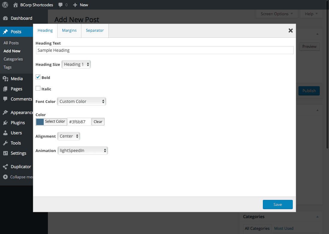 Editing the shortcode settings.
