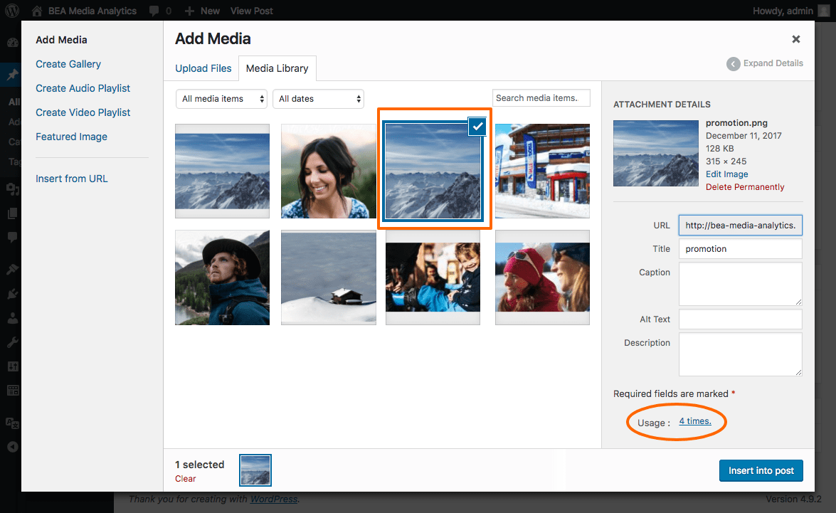In the media library modal view, when a media is selected, a bloc has been added to display the number of usages.