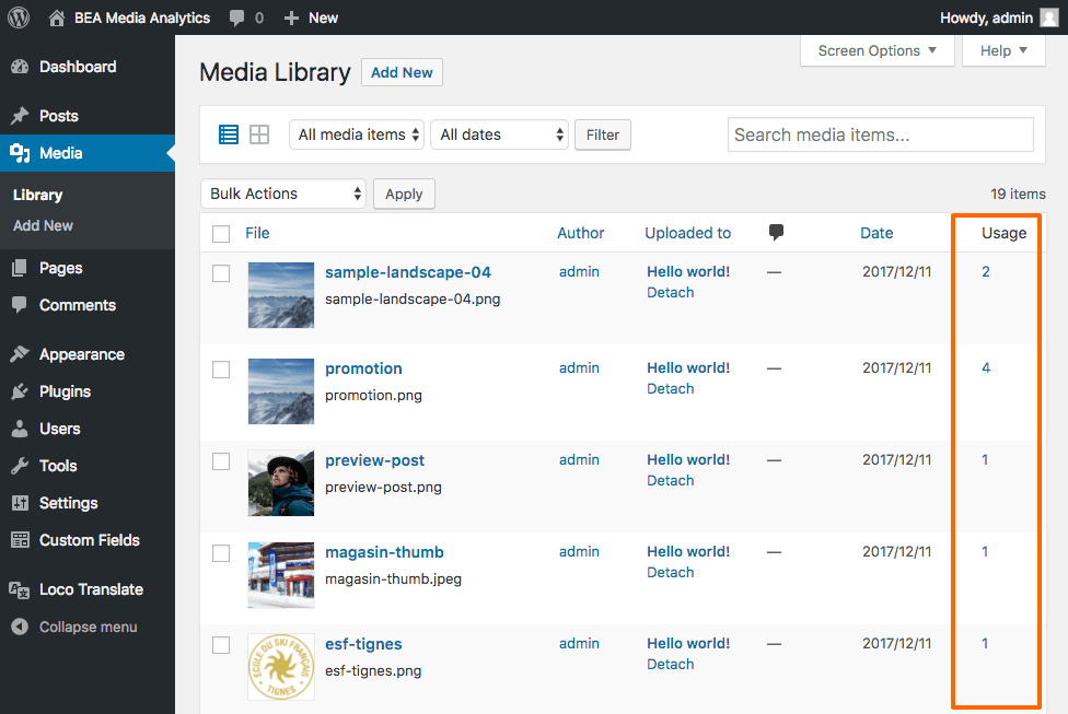 On the media admin library view, an admin column has been added to display the number of usages.