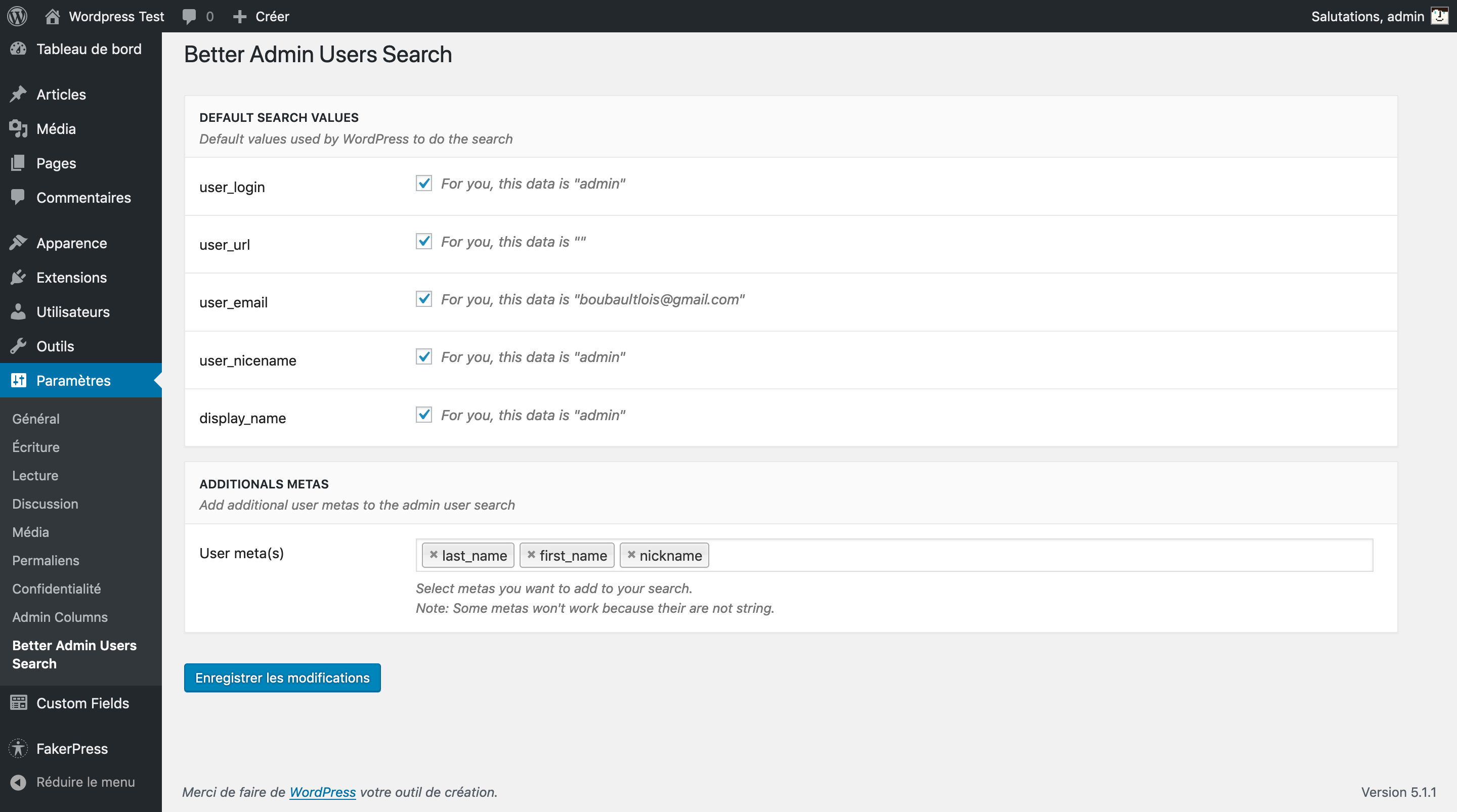 The Better Admin Users Search settings screen