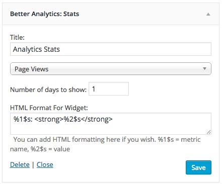 Better Google Analytics includes an optional front-end widget that allows you to display your Google Analytics stats based on any metric you wish.
