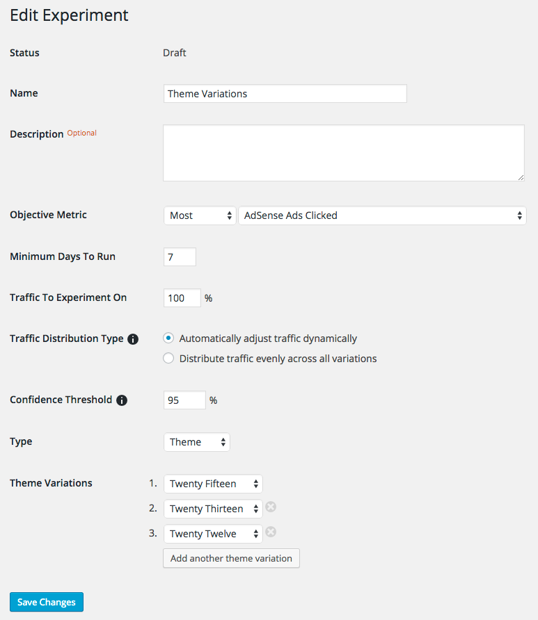 A Google Analytics Content Experiment setup to utilize different WordPress themes to determine which variation results in the most AdSense ads being clicked.